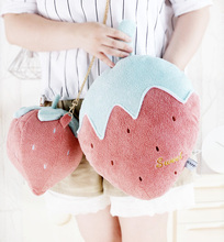Cute Fruit shoulder bag Girl Strawberry children backpack toy plush animal for The kids