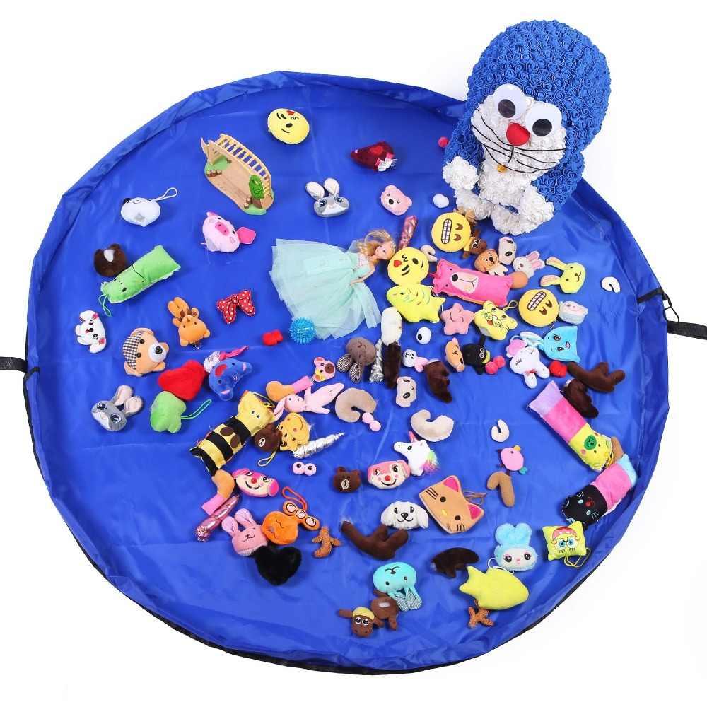 Novo Portátil Toy Kids Storage Bag and Play Mat Brinquedos Lego Organizador Bolsa Com Cordão Sacos de Armazenamento de Moda Prático
