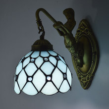 Tiffany Wall Lamp Mediterranean Sea Style Stained Glass Mermaid Sconce Bedroom Stair Lighting E27 110-240V