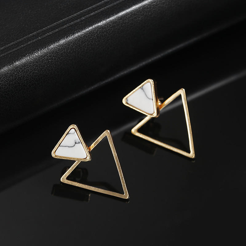 New Design Fashion Triangle Geometric Round Marbled White Stone Stud Earrings For Women Charm Jewelry boucle d'oreille