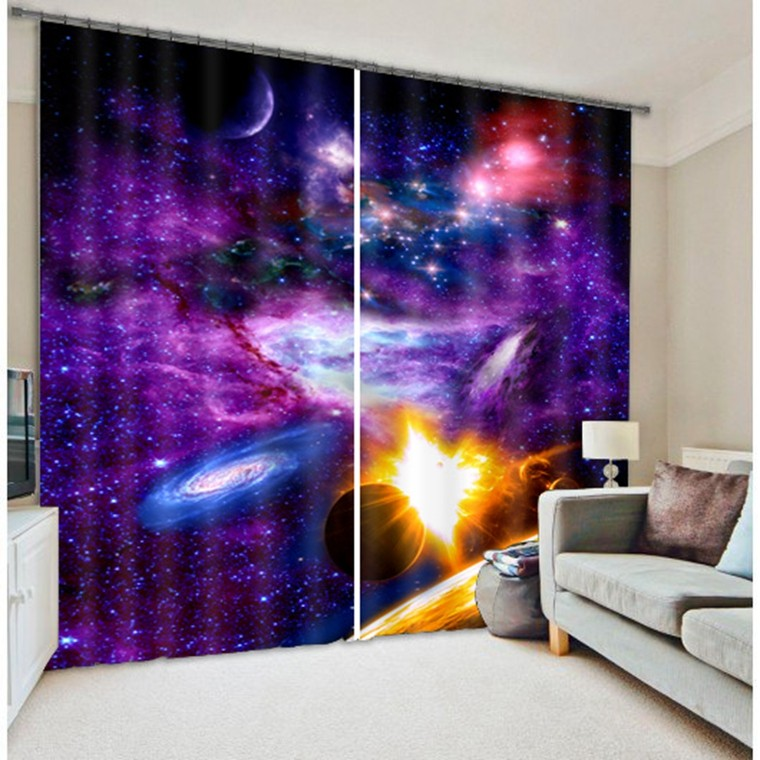 Luxury Amazing Galaxy Universe Space Blackout 3D Window Curtains For Bedding room Living room