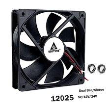 Gdstime 12025 5V 12V 24V 48V Процессор ПК компьютер чехол вентилятор 120x120x25 мм 2PIN 3PIN 12 см Ноутбук GPU 120 мм охлаждающий вентилятор постоянного тока мяч/рукав из нержавеющей стали