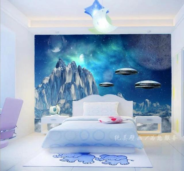 3D Space Wallpaper Custom Snow Mountain Photo Wallpaper Bedroom TV  Background Wall 3D Wallpaper Flying Saucer