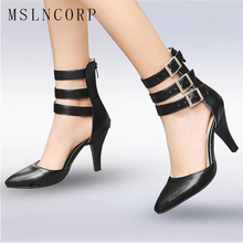 Size 34-48 Fashion sexy Women Summer Shoes High Heels Pointed Toe Sandals Women Ankle Boots Gladiator Buckle Ladies Party Pumps