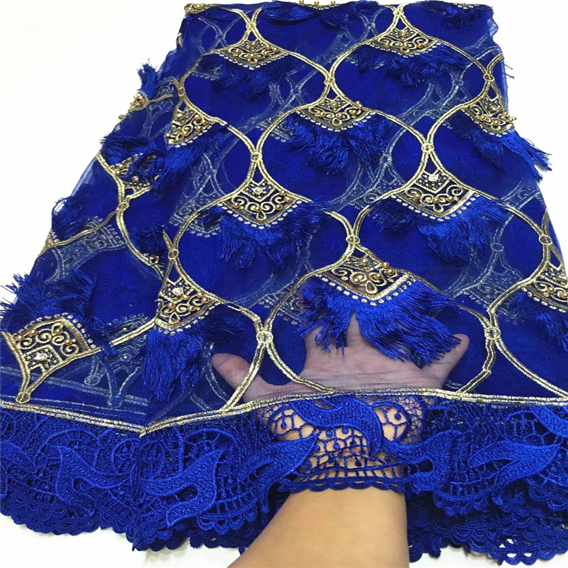 2018 Most popular royal blue african net lace with beads french mesh lace guipure laces fabric