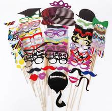 76 pcs/set Cat Glass Wedding Photo Booth Props Party Decorations Supplies Mask Mustache For Fun Favors Photobooth Photocall(China)