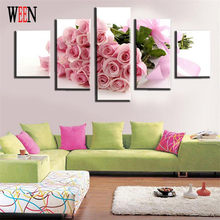 WEEN HD Printed Pink Flower Wall Pictures For Living Room Rose Canvas Painting Art Home Decor 5 Piece Modular Cuadros Decoracion(China)