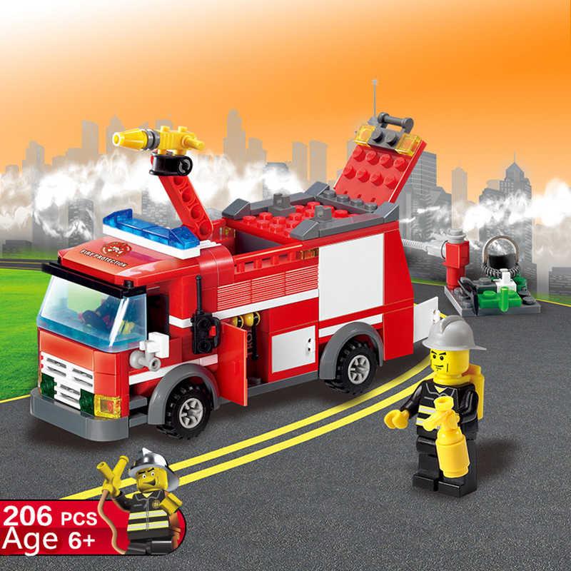 206 шт. Legoings город пожарная спринклерная машина-трансформер Строительные блоки Набор игрушек DIY Развивающие детские подарки на день рождения