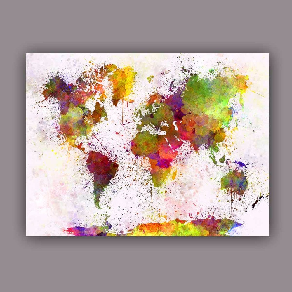 Large watercolor canvas art picture maps world map wall for Large colorful wall art