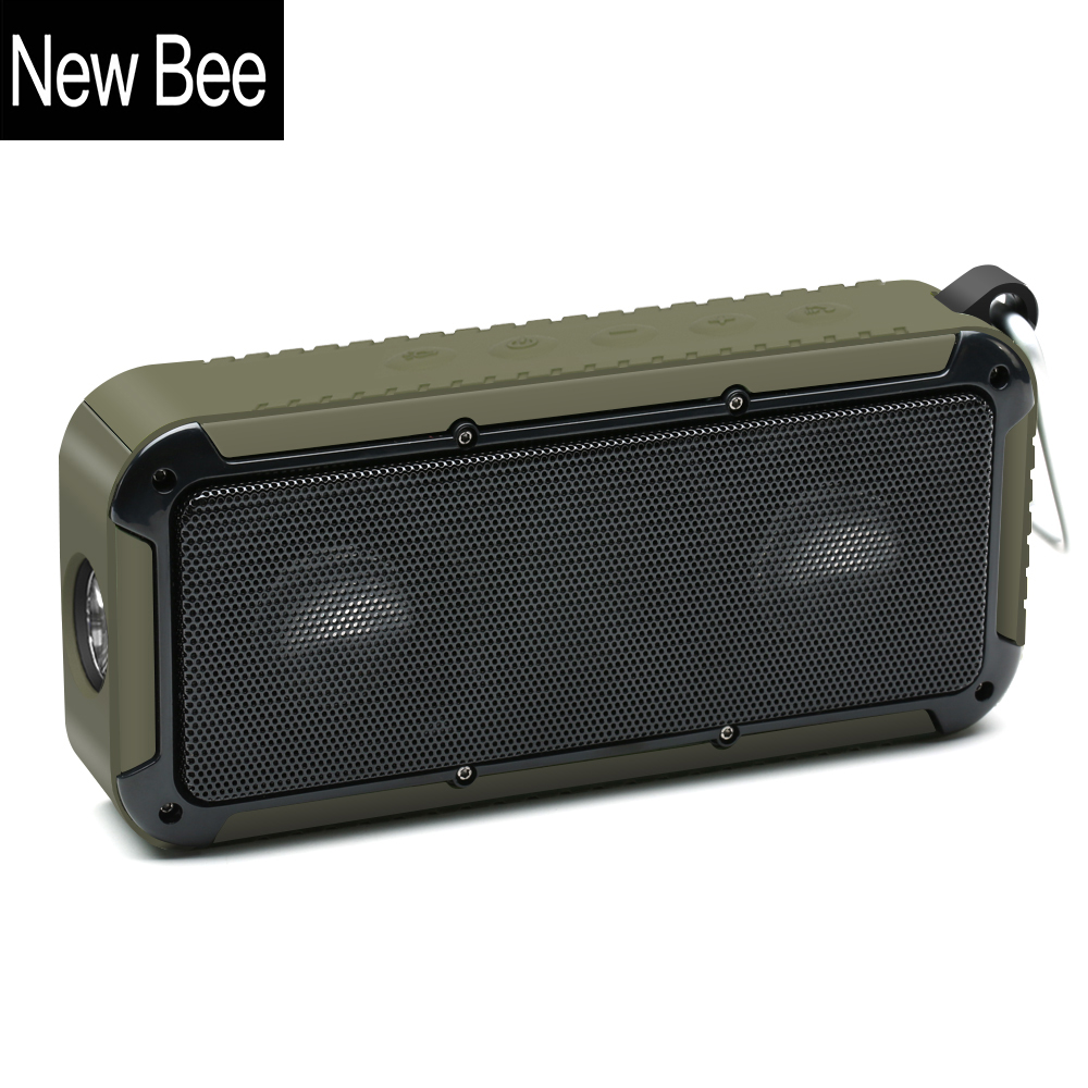 New Bee Outdoor Portable Waterproof Wireless Bluetooth Speaker with Microphone 3.5 Jack NFC Bicycle Mount LED Flashlight Hook new bee nb s1 led speaker red