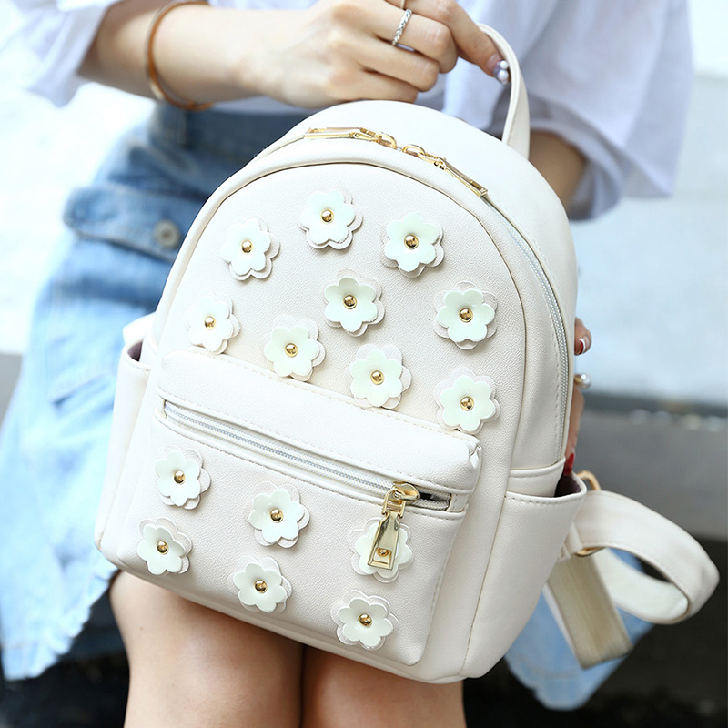Women Fashion Flower Small Women Backpack Korean School Bag For Teenagers Girls Pu Leather Rivet Mini Daypack Female Backpacks