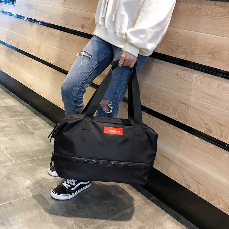 76b5e264b ... Lady Black Travel Bag Pink Color Nylon Duffle Shoulder Bags Women  Handbag Women Weekend Portable Men ...