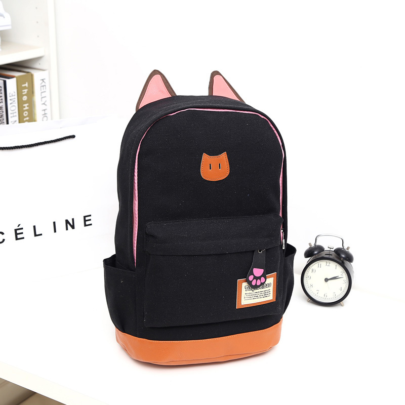 Cute Japan Korea style mix color canvas backpack cat ears backpack AB205