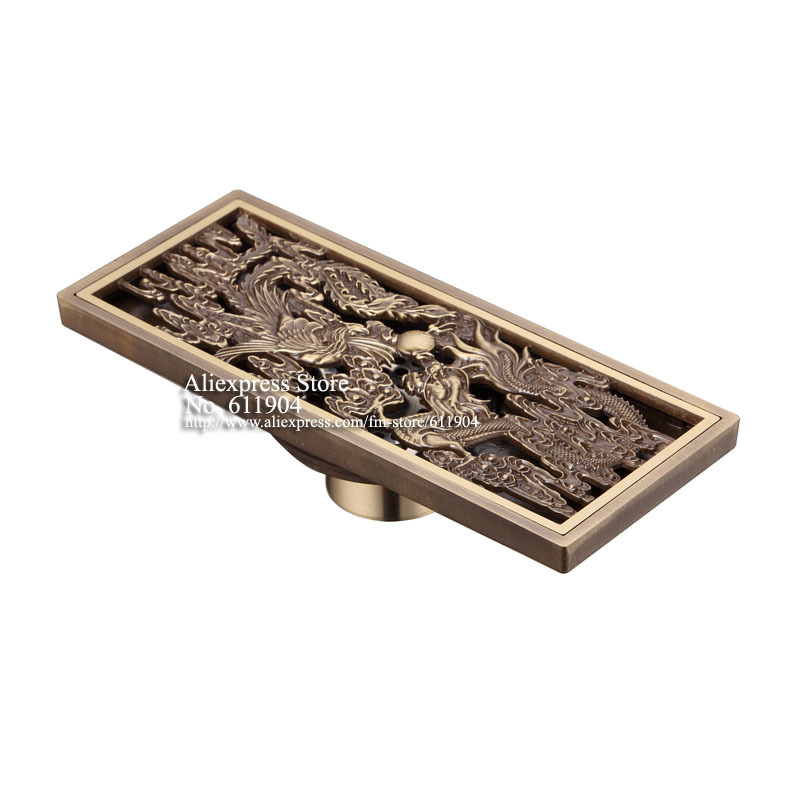 ФОТО Chinese Style Antique Brass Bathroom Linear Shower Drain Floor Drainer Trap Waste Grate Strainer Dragon And Phoenix