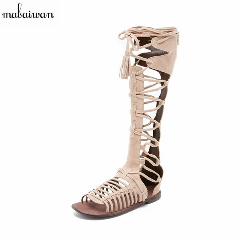 2017 Fashion Women Summer Boots Vintage Real Leather Fringed Sandals Cut Outs Zipper Shoes Woman Knee High Botas Gladiator Flats  handmade high quality 2017 summer new knee high boots gladiator women sandals boot real leather flats casual shoes black size 41