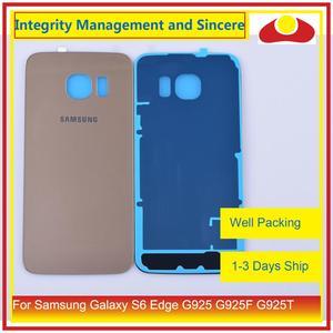 Image 5 - 50 Pcs/lot pour Samsung Galaxy S6 Edge G925 G925F G925T boîtier batterie porte arrière couvercle en verre châssis coque de remplacement