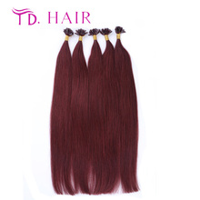 #99j U Tip Hair Extension Wholesale 7A grade Brazilian Virgin Hair 1g/strand 100% prebonded human hair free shipping
