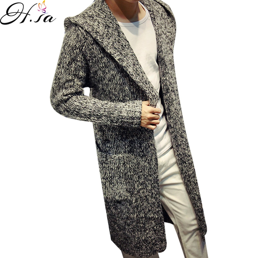 2016 Autumn Winter Mens Long Sweater Cardigans New Fashion Oversized Jumpers Mens Hooded Sueter