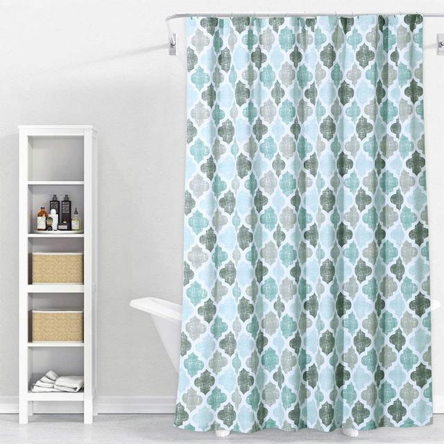 Moroccan Decor Collection Curvy Geometric Damask Patterns In Watercolor Home Art Polyester Fabric Bathroom Shower Curtain