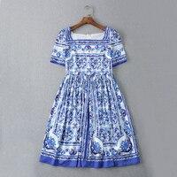 Sommer Kleid 2016 Mode Täglichen Neuen frauen Kurzarm Quadrat Kragen Blau Weiß Porzellan Blumen Gedruckt Minikleid