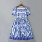 Vestido de verão 2016 de Moda Diariamente Novos das Mulheres Novas Gola Quadrada de Manga Curta Azul Branco Da Porcelana Flores Impresso Mini Vestido