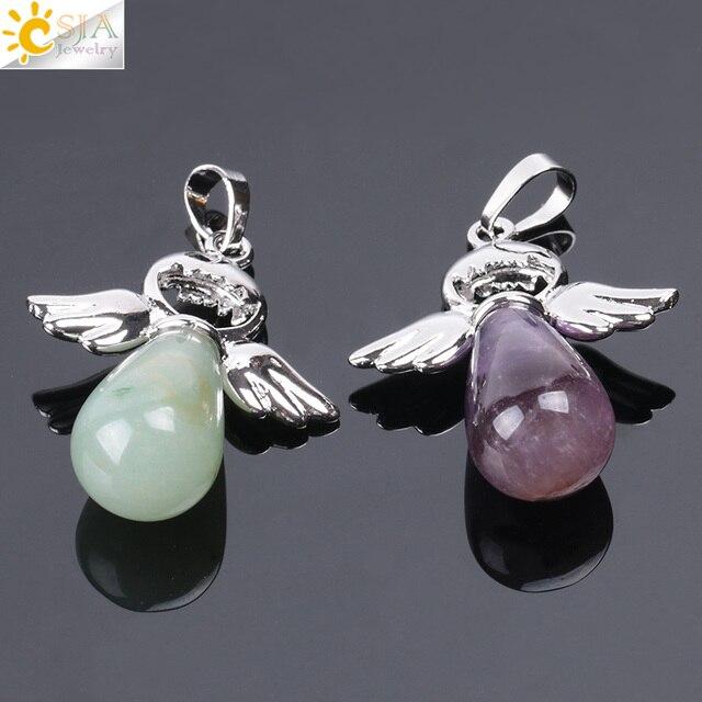 Фото csja кулон ангелов из натуральных камней для ожерелья розовые