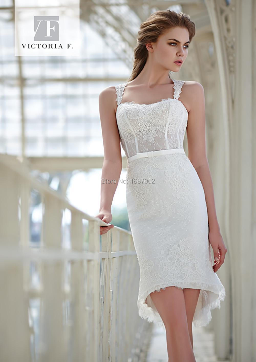 2015 Lace Sheath Beach Wedding Dresses Spaghetti Strap Knee Length ...