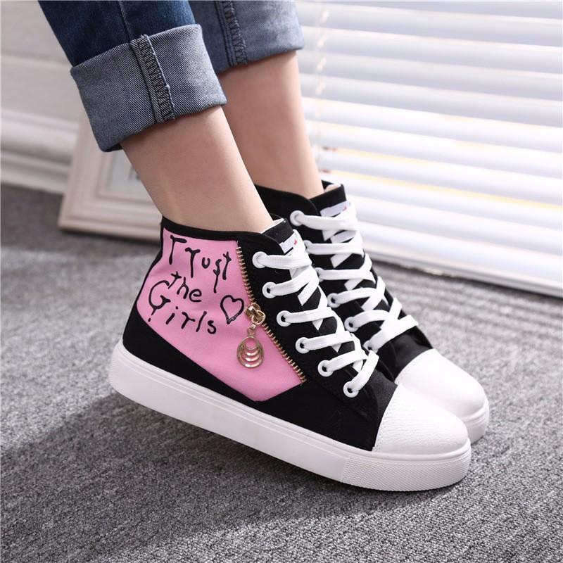 Flat High Top Canvas Women Shoes 17 Colors Spring Autumn Women's Flats Espadrilles Lace Up Casual Shoes Foot 22-24.5CM YD87 (20)