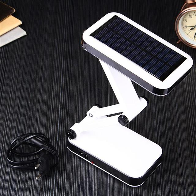 US $29 99  ONLY For 110V Portable Solar Powered Rechargeable LED Desk Lamp  Modern Cordless Folding Dimmer Reading Table Lampe Light -in Table Lamps