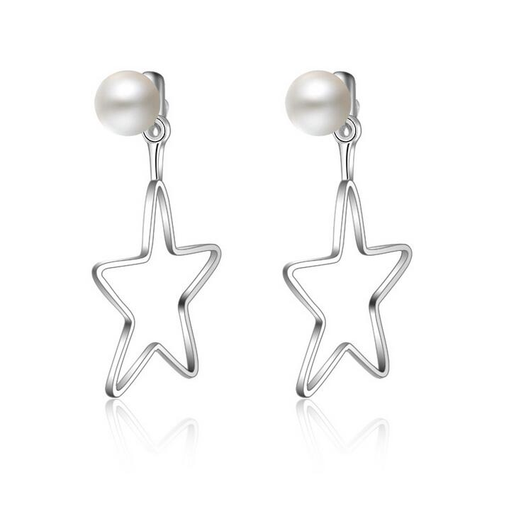 2017 new arrival high quality fashion pearl star design 925 sterling silver ladies stud earrings women jewelry gift wholesale in Stud Earrings from Jewelry Accessories
