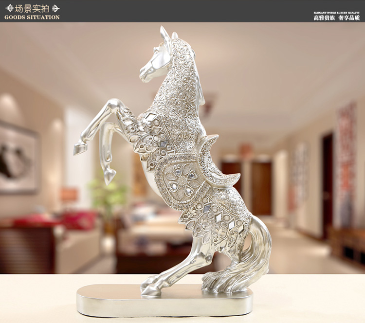 resin Europe Retro silver jumping horse artcraft 30x10x37cm ornaments,furnishings office desk decoration gift a2391