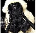2015 Зима согреться Искусственного меха лисы пальто Черный тонкий леди V шеи меховые куртки PU лоскутная женщины Моды хлопка ватник CH531