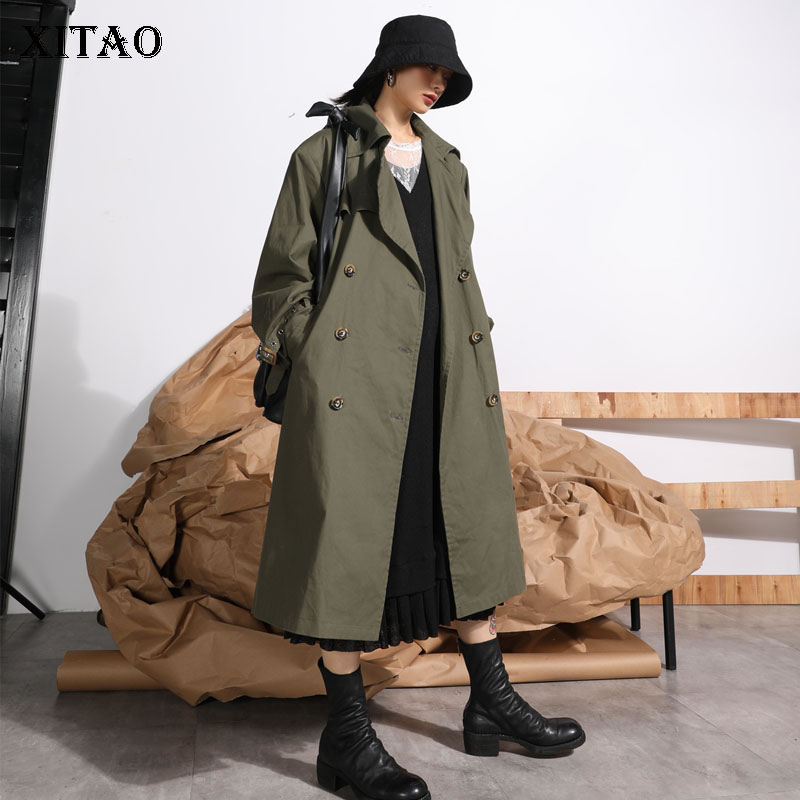 [XITAO] 2019 Spring New Fashion Women Turn-down Collar Full Sleeve Long Coat Female Solid Color Double Breasted   Trench   DLL2857