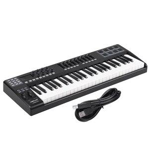 Image 5 - PANDA49 clavier pour contrôleur MIDI, 49 touches, 8 tambours, avec câble USB, blanc, rétroéclairage RGB
