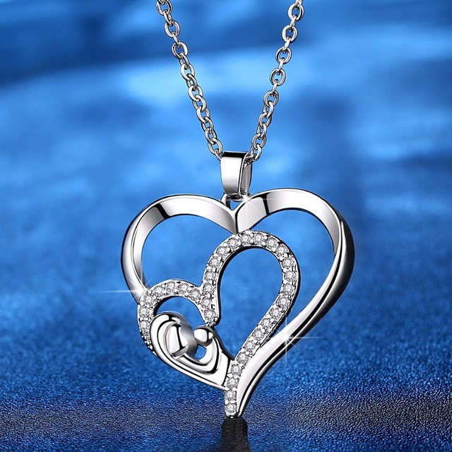 Fashion Mother's day necklace Crystal Heart Pendants Necklaces Mother Child  Necklace Fashion Jewelry For Women