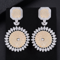missvikki Round Trendy Earrings for women Shiny Full Cubic Zirconia Round Pendant Earrings for women Ladies High Quality