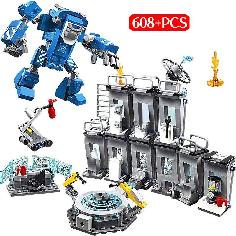 608PCS Marvel Avengers Infinity War Endgame Building Block Legoingly Super Hero Iron Man Battle Suit Laboratory Toys For Kids