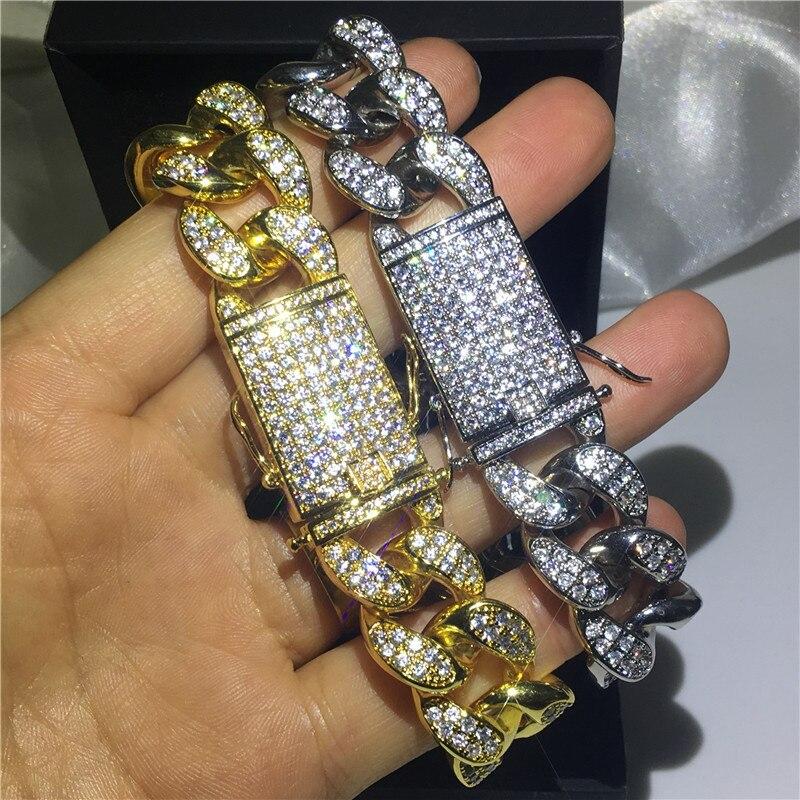 Choucong luksusowe mężczyzna Hiphop bransoletka białe złoto wypełnione AAAAA cyrkon Party rocznica bransoletki dla mężczyzn moda Rock biżuteria w Bransoletki łańcuszkowe od Biżuteria i akcesoria na  Grupa 2