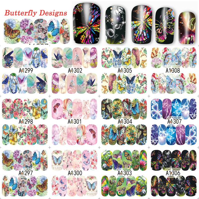 12 Designs/Lot Butterfly Deep Nail Art Full Sticker Decals Fashion 2017 Water Transfer Nail Decals Nail Art Tattoos TRA1297 1308