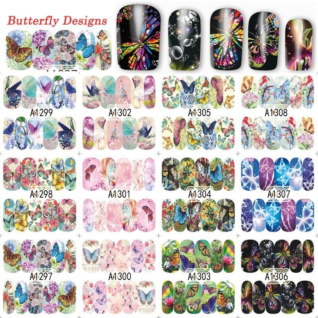 Lote de 12 diseños de calcomanías de mariposa para uñas, calcomanías de transferencia al agua, arte de uñas calcomanías, tatuajes, TRA1297 1308, 2017