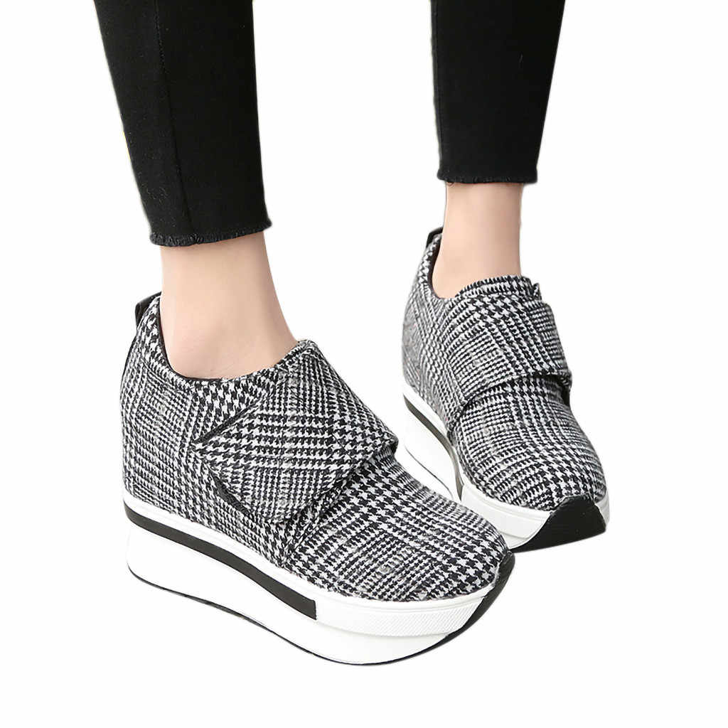 YOUYEDIAN Woman basket femme Casual Gingham Round Toe Thick Platform Wedges  High Heels Lady Work Shoes cde31f75ed6d