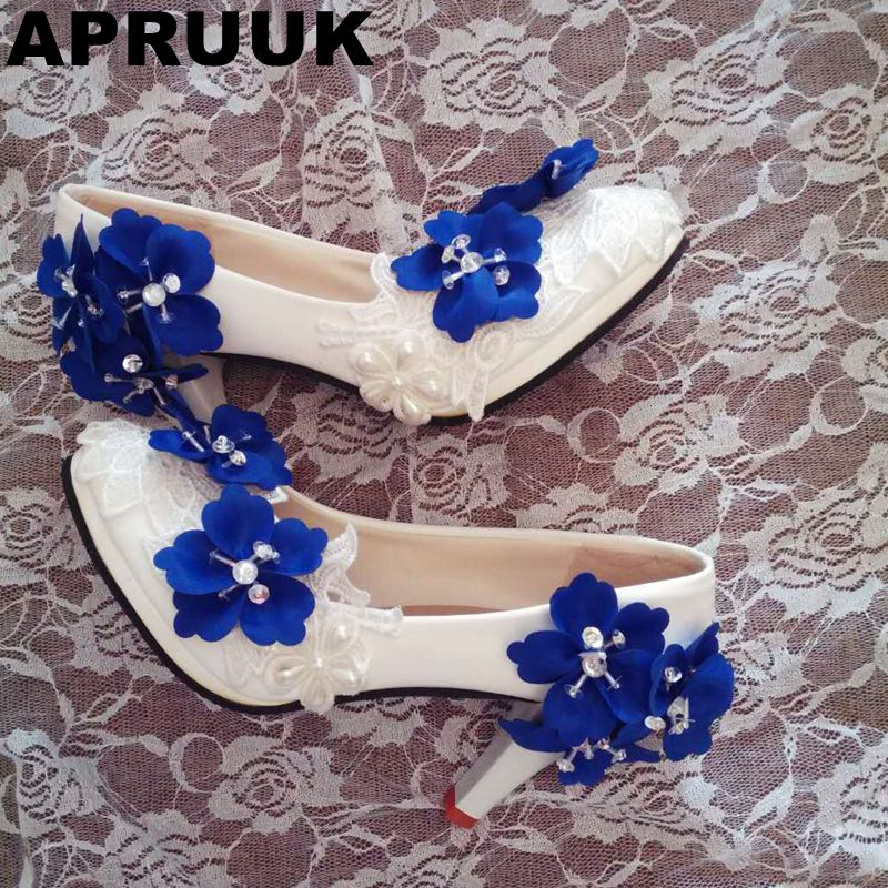 High Heels fashion blue flower wedding shoes woman female ladies sweet blue flowers party proms dress pumps shoes
