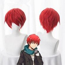Pelucas de anime Assassination Classroom, peluca corta de Cosplay de Akabane Akashi Seijuro Sasori, peluca roja de fibra resistente al calor