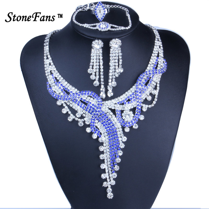 StoneFans Blue <font><b>Necklace</b></font> Set Statement Wedding Jewelry Sets Rhinestone <font><b>Necklace</b></font> <font><b>Earrings</b></font> <font><b>Ring</b></font> <font><b>Bracelet</b></font> Set Blue image