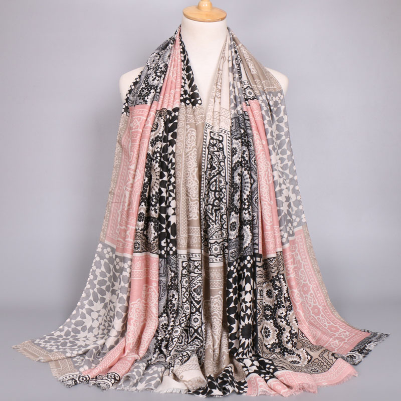 High quality twill cotton geometic pattern paisley bohemian shawls long muslim wraps autumn design scarves scarf