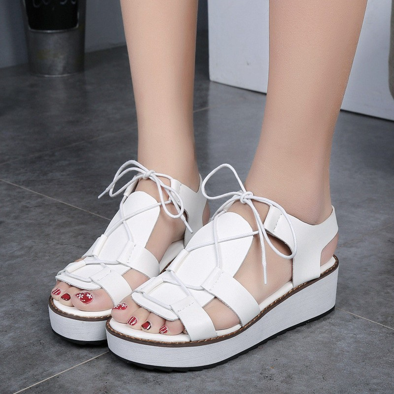 Hot Sale New Spring Summer Fashion Sandals Thick Soled Shoes Lace-up Black White Women sandals HSD08  (6)