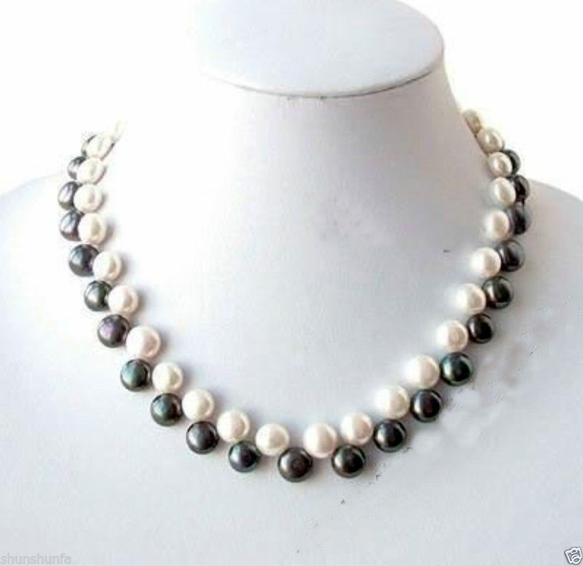 """Real Natural  Beautiful 7-8mm White Freshwater Pearl Rice Necklace 18/"""" AAA+"""