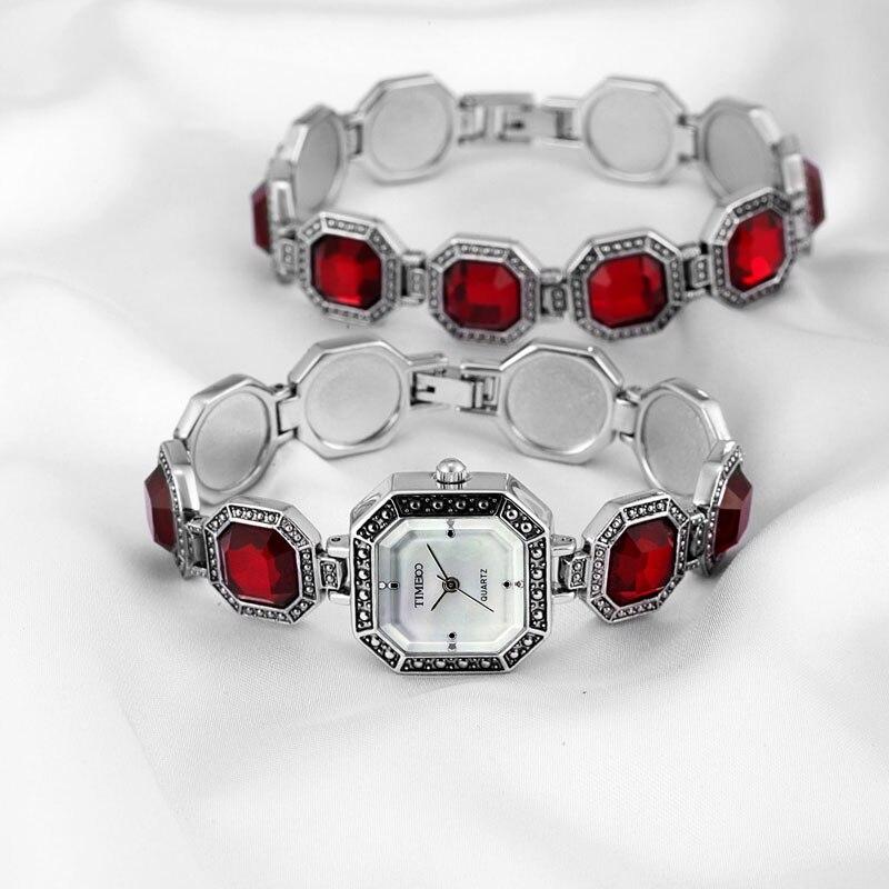 TIME100 rétro femmes Bracelet montres à Quartz montres analogique diamant rouge coquille cadran bijoux robe montre-Bracelet relogio feminino