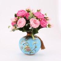 Artificial decorative flower Peony flower ceramic vase rose jar art deco vase & 2 pieces flowers + 1 pieces VASE
