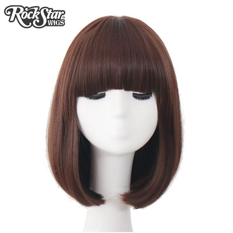 Rockstar Искусственные парики 10 Цвета чёрный; коричневый Короткие вьющиеся Боб Синтетические волосы Косплэй парик для Для женщин термостойкие Волокно ежедневно Полный волос